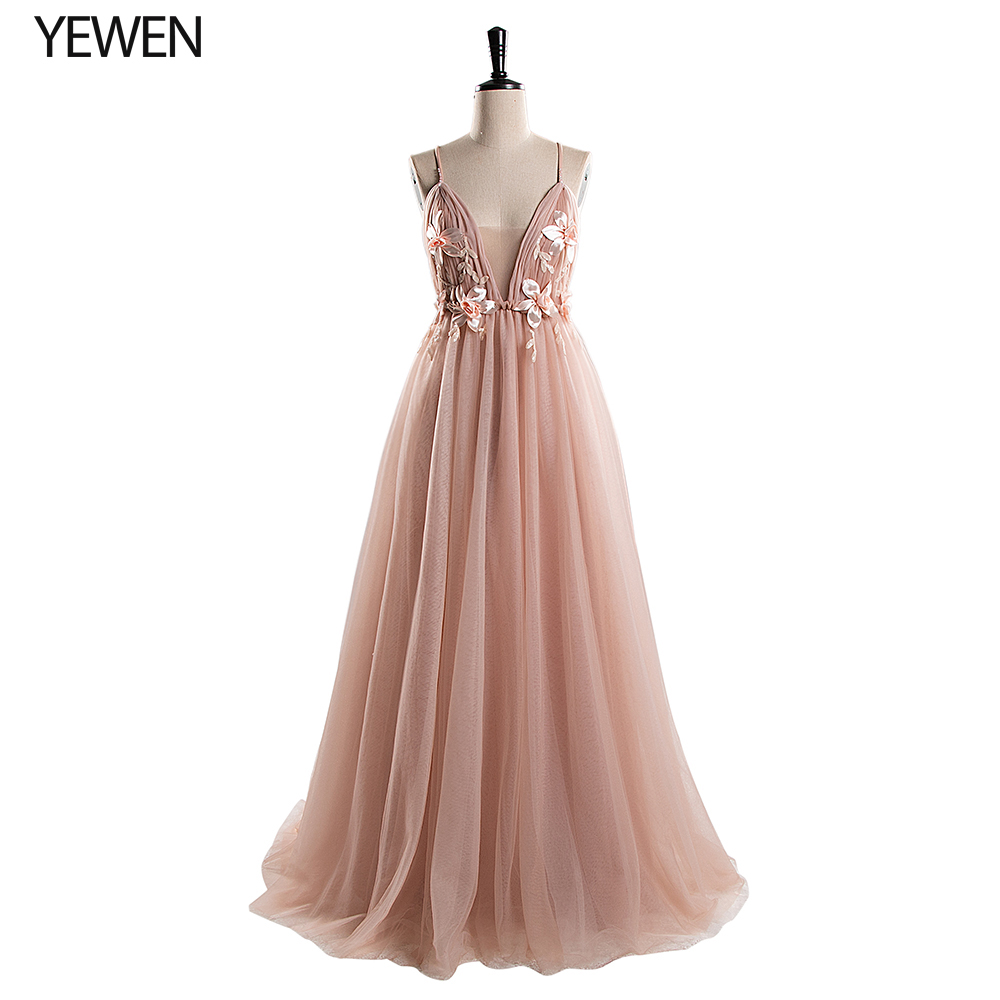 Deep V Neck Tulle Long Evening Dress 2020 Backless Flowers Blush A Line Special Occasion Prom Gowns Custom Made Vestido De Noche