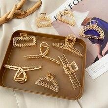 Модные Винтажные золотые полые геометрические металлические заколки для волос, Винтажные заколки для волос для женщин и девочек, повязки н...