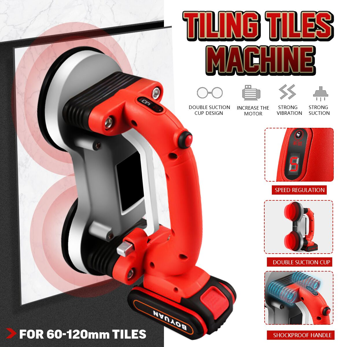 60-120mm Tiling Tiles Machine Tiles Vibrator Suction Cup Adjustable Protable Automatic Floor Vibrator Leveling Tool With Battery