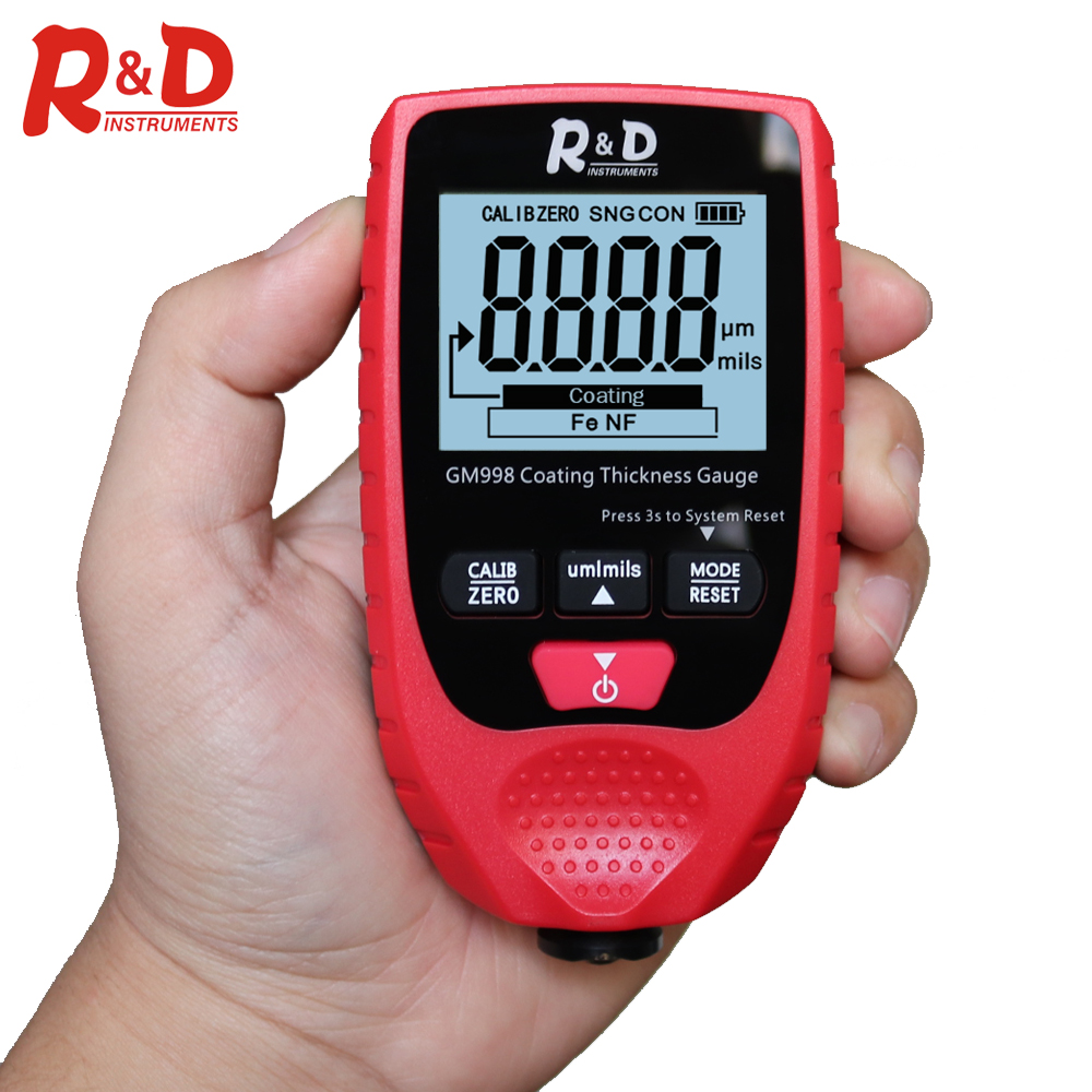 R&D Car Paint Paint Coating Thickness Gauge Electroplate Metal Coating Thickness Tester Meter 0-1500um Fe & NFe Probe GM998 Red