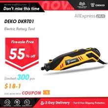 Deko mini furadeira elétrica, mini furadeira elétrica com velocidade variável, para polimento, corte, perfuração, ferramenta rotatória com acessórios 220 v dkrt01
