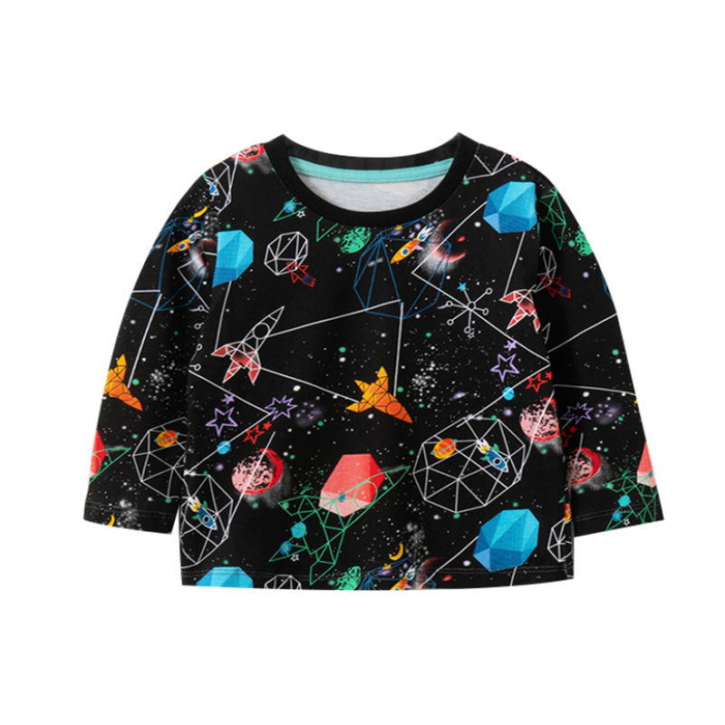 Jumping meters New Design Cotton Baby T shirts for Boys Girls Clothes Space Long Sleeve Children's Tops Fashion Designs 1