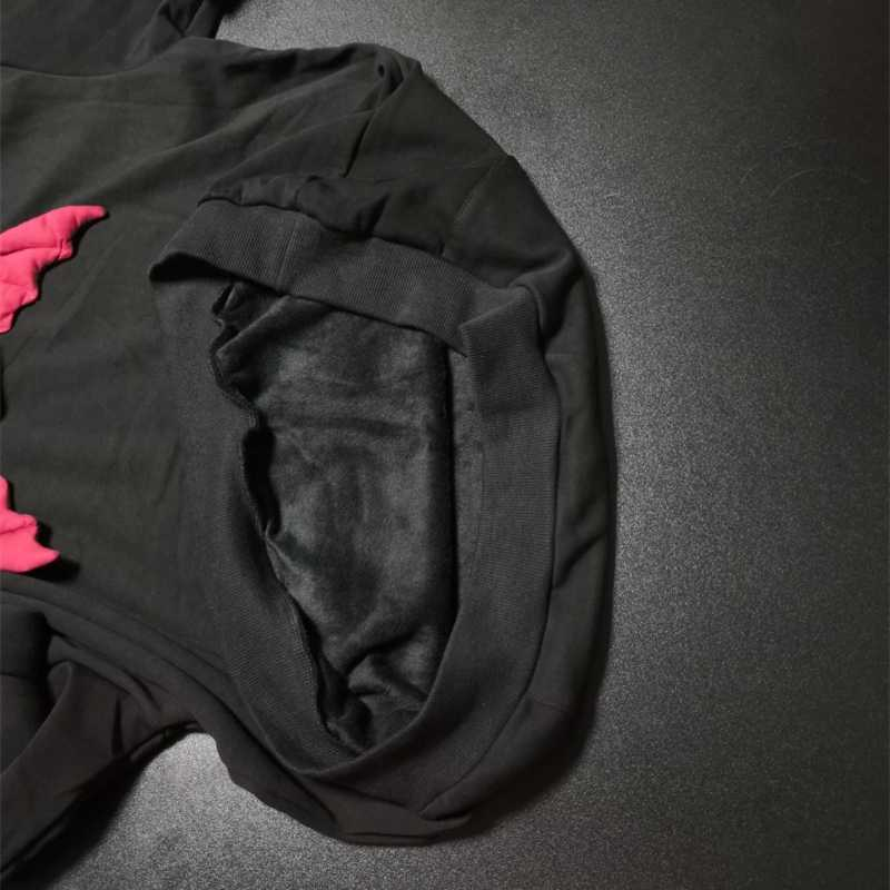 Outono Quente Camisola Do Hoodie Das Mulheres Da Moda Harajuku Diabo Asa Hoodies Patchwork Moletom Feminino Casual Streetwear Pullover