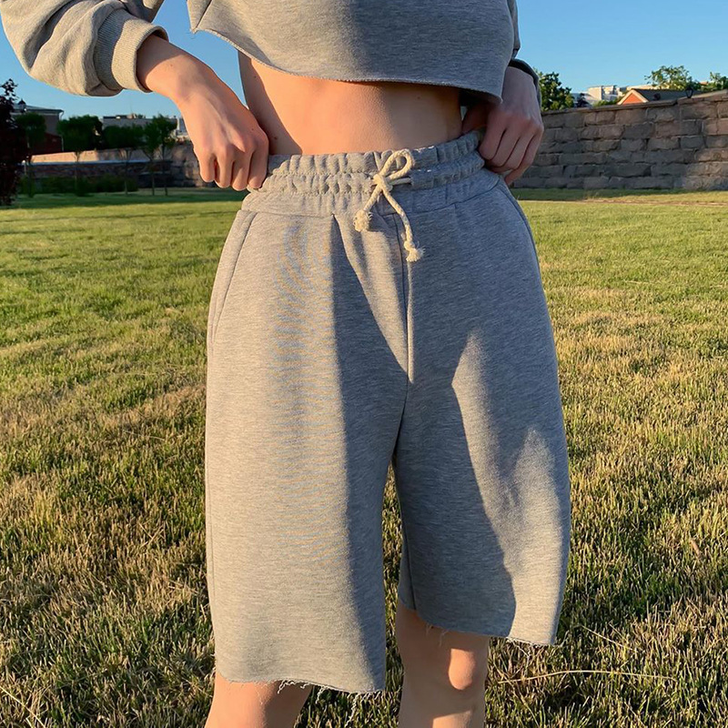 Women Casual Soild Color Pants Loose Knee Length Capris Hight Elastic Waist With Pockets Ladies Fashion Short Trousers