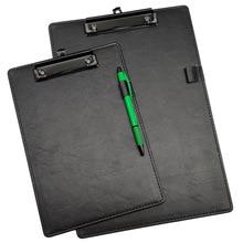 pvc splint A4 A business black leather chart cardboard clip