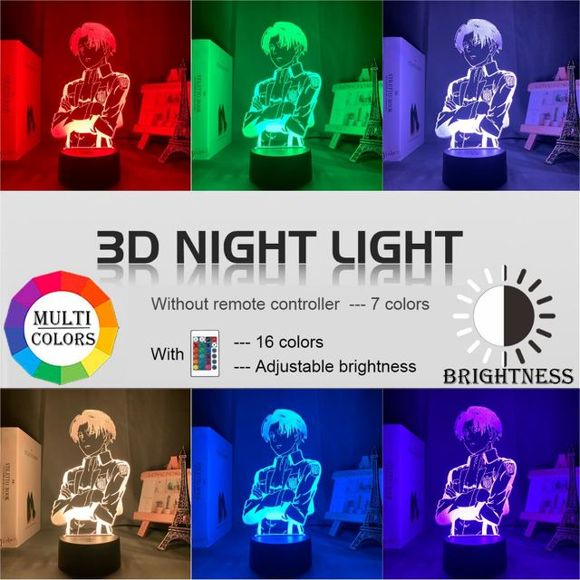16 COLOR WITH REMOTE ATTACK ON TITAN 3D LED LAMP (33 VARIAN)