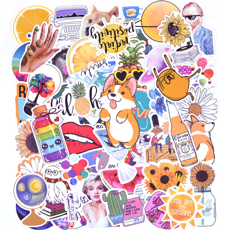 Image 5 - 20 Style Vsco Stickers Things 50PCS Pack Cool Pink Girl Stickers For On The Laptop Fridge Phone Skateboard Suitcase Sticker-in Stickers from Toys & Hobbies