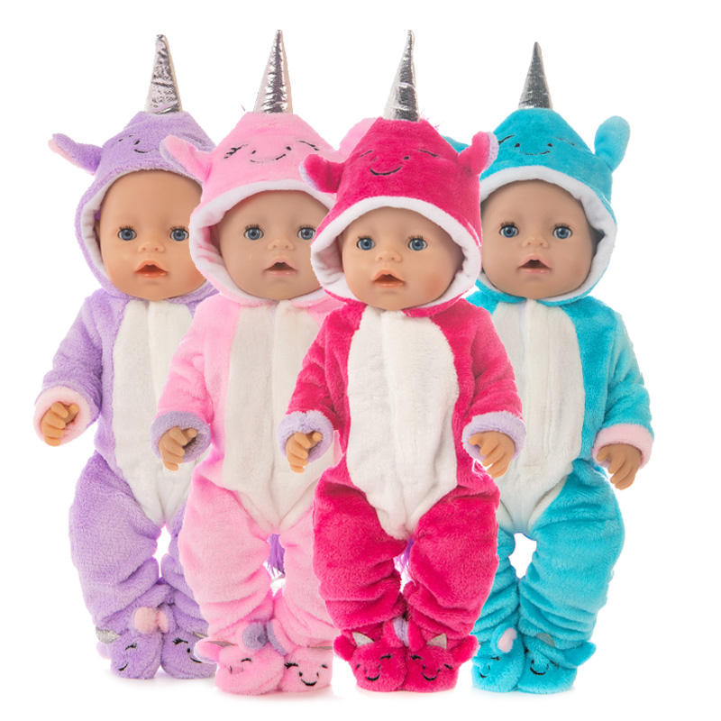 Doll Clothes 43cm Born New Baby Fit 17 Inch Doll Red Pink Blue Purple Unicorn Clothes Accessories For Baby Birthday Gift