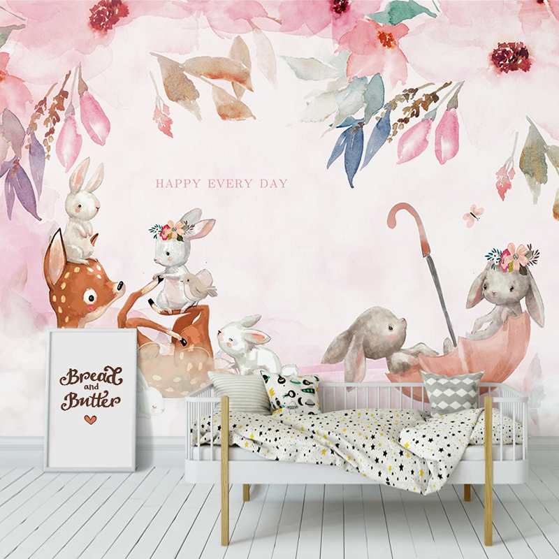 Custom Photo Hand Painted Pink Elk Rabbit Living Room Children Room Animal Decoration Painting Cartoon Pastoral Mural Wallpaper