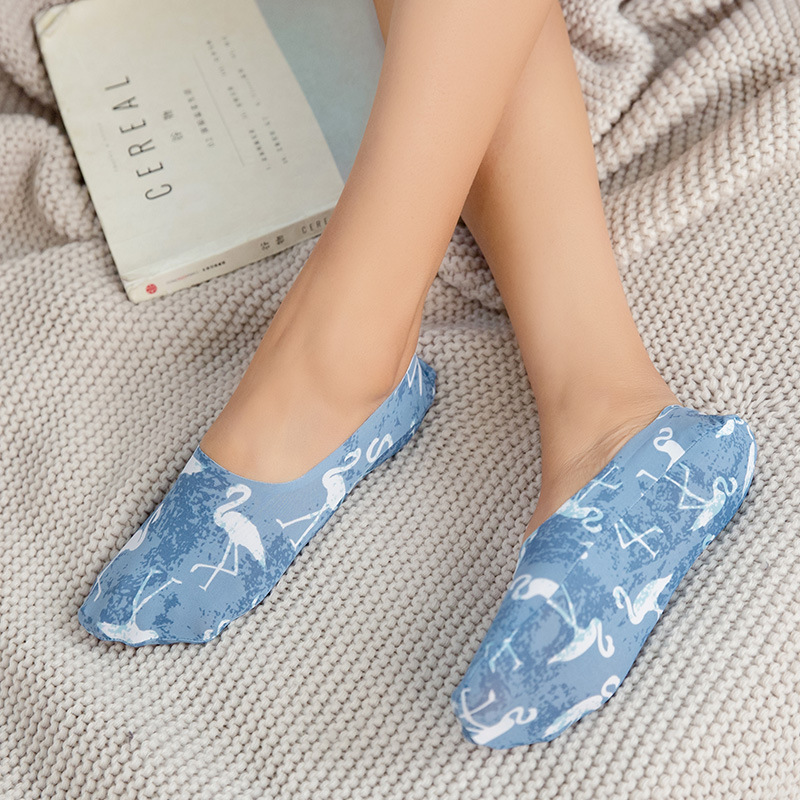 Silicone Anti-skid Socks Girls Cartoon Invisible Socks Sweat Summer Ice Silk Seamless Sock Print Women Boat Socks High Quality