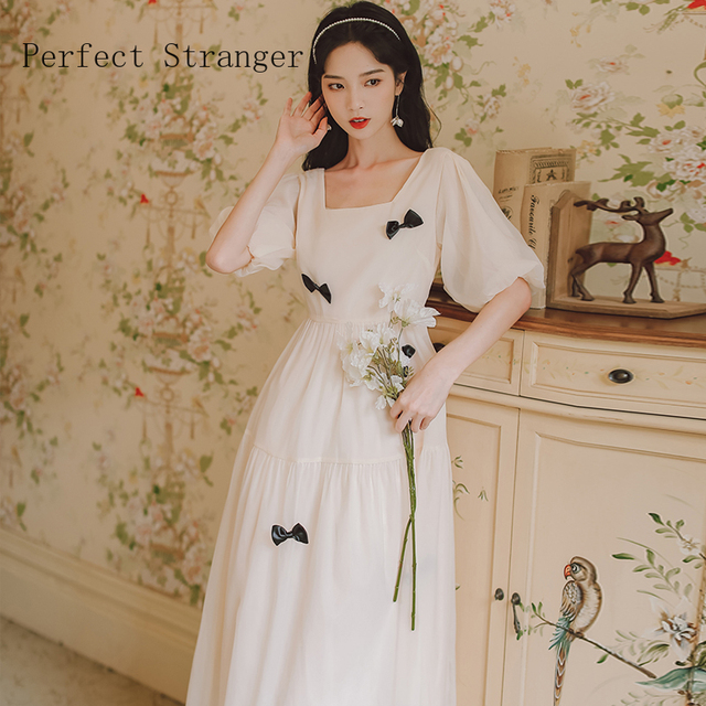 2021 Summer New Arrival French Style High Quality Square Collar Puff Sleeve Bowknot Women Chiffon Long Dress 2