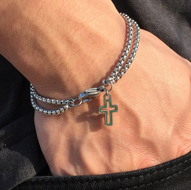 Новинка 2020, двухжильная цепь Rolo с крестом, браслет с подвесками для мужчин, застежка-карабин из нержавеющей стали