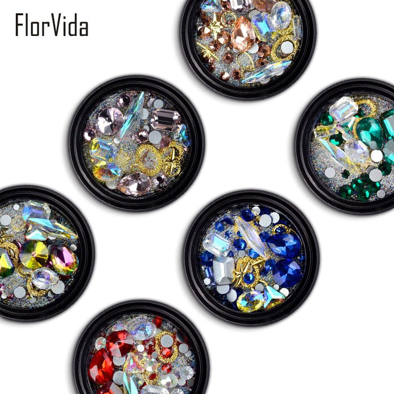 FlorVida 6 Styles Shiny 3D Nail Art Decoration Gold Alloy Color Rhinestones Stones Colorful Tiny Balls Beads