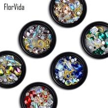 FlorVida 6 Styles Shiny 3D Nail Art Decoration Gold Alloy Color Rhinestones Stones Colorful Tiny Balls Beads