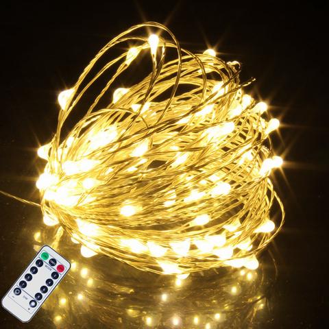 5M 10M 20M luces de hadas de alambre de cobre luces de cadena LED con Control remoto para guirnalda árbol de Navidad decoración de Sala de bodas
