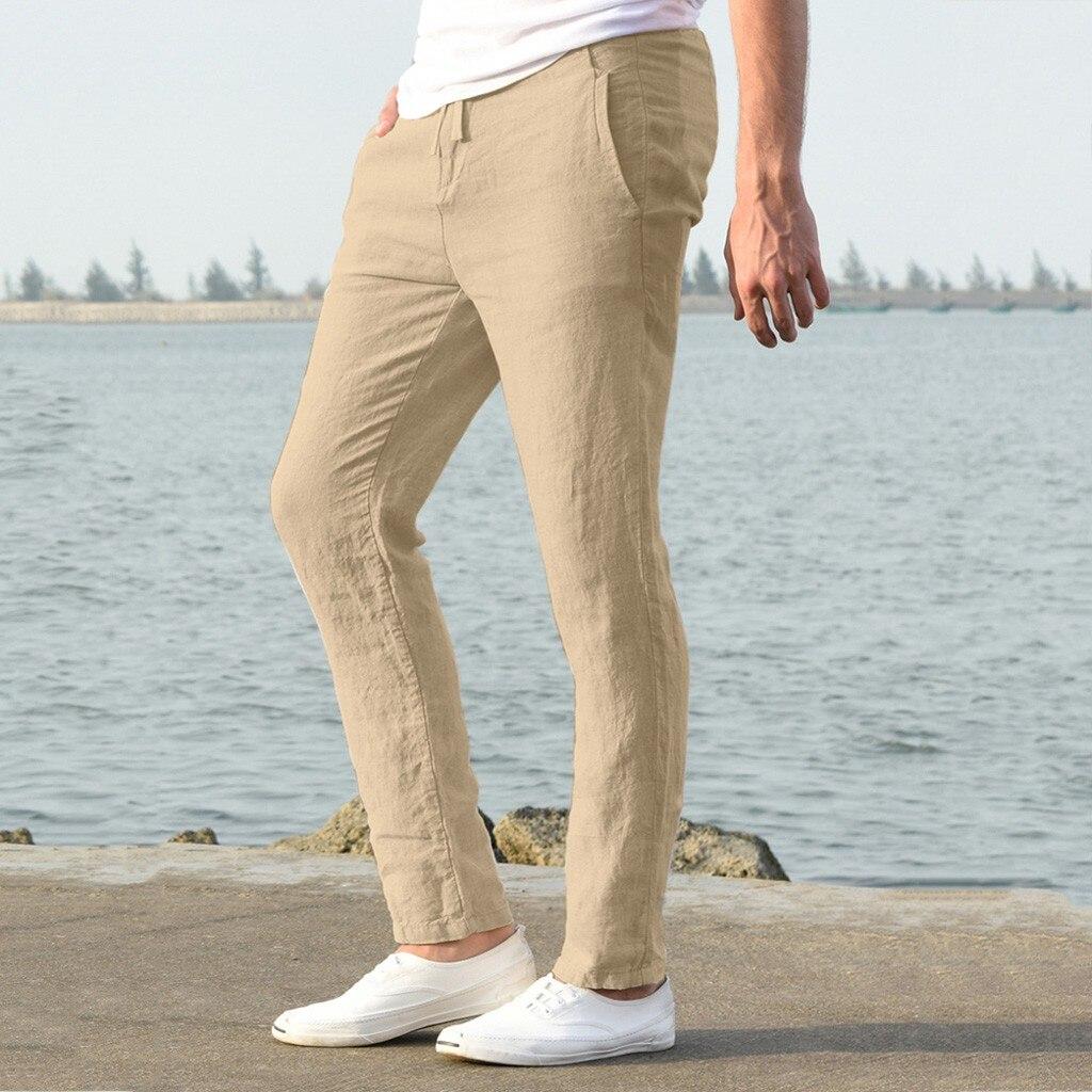 H532217fdb41348b18d68433d4801eb2bV Feitong Fashion Cotton Linen Pants Men Casual Work Solid White Elastic Waist Streetwear Long Pants Trousers