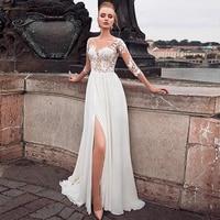 Elegant Chiffon Bateau Neckline See through Bodice A line Bridal Dress Front Slit Long Sleeves Wedding Dress vestido novia corto