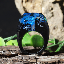 Wooden Resin Ring Soul Of The Forest Eco Epoxy Jewelry Secret Magical World In A Tiny Landscape Glow Dark