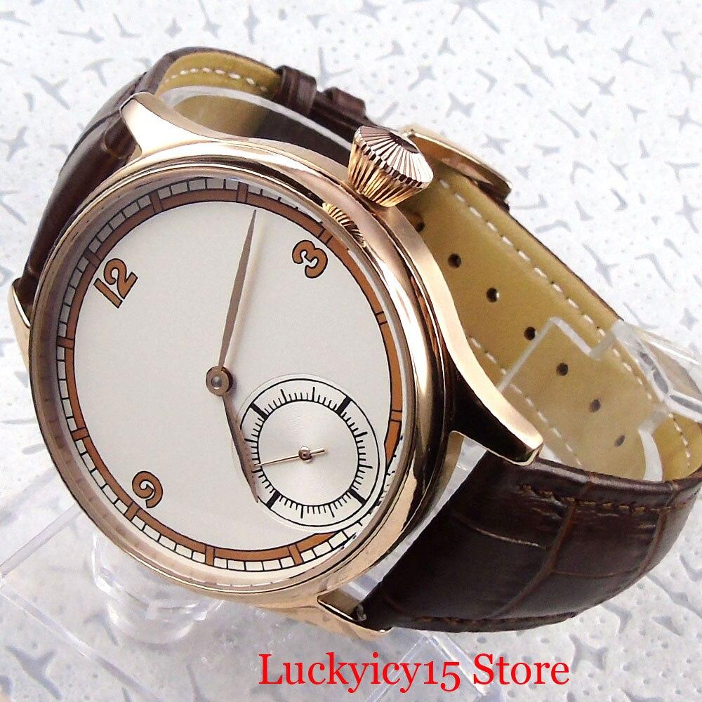 Luxo clássico vestido 44mm rosa ouro mecânico 6498 mão enrolamento relógio masculino estéril dial pulseira de couro