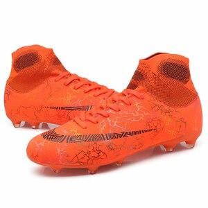 Image 4 - Crianças sapatos de futebol dos homens de alta formação superior ag sola ao ar livre chuteiras sapatos de futebol pico alta tornozelo homens botas crampon