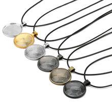 5 шт. застежки-карабины Подвески основа ожерелья настройки с 25 мм 30 мм стеклом Кабошон Камея вощеный шнур ожерелье принадлежности для ювелир...