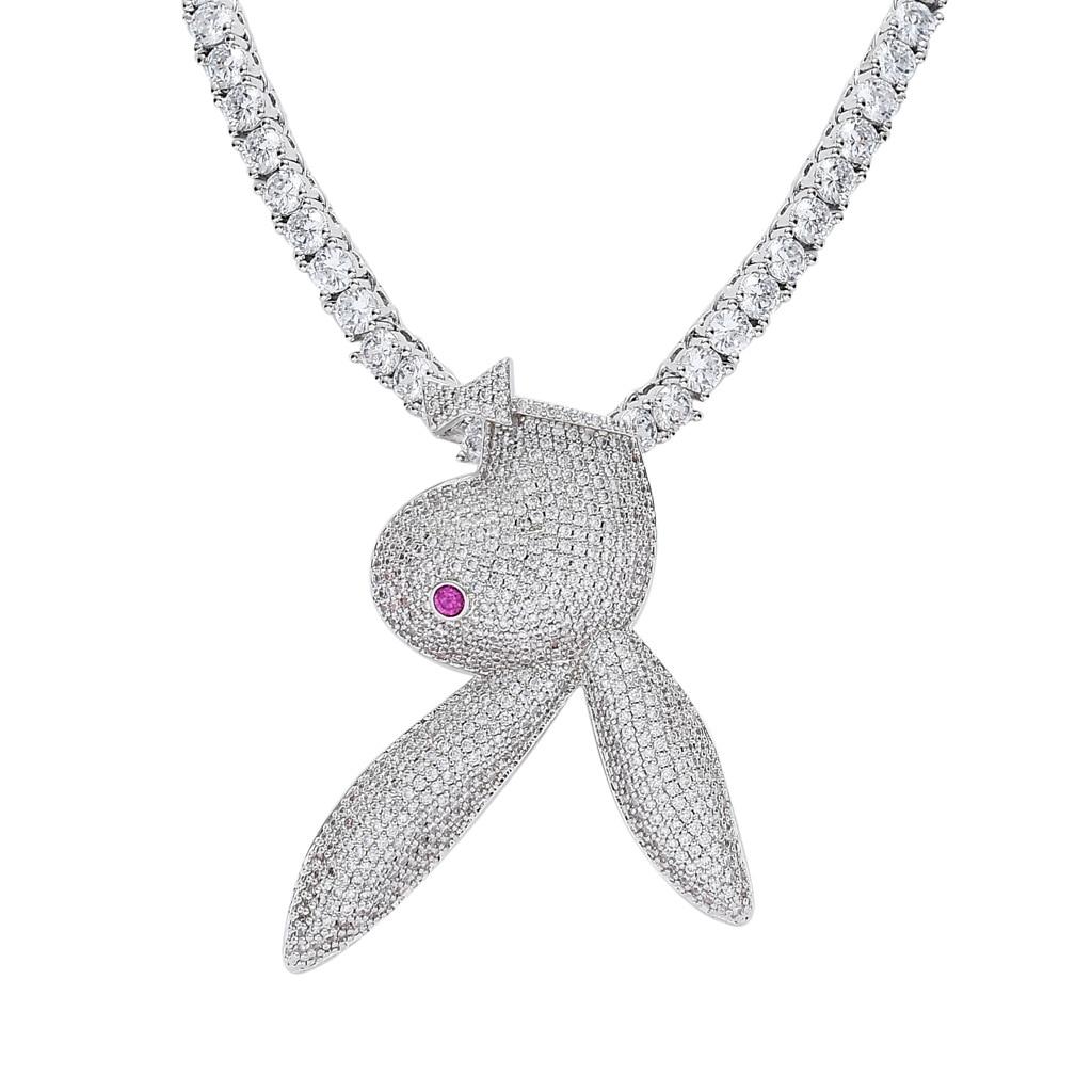 Ins Модный кулон с кроликом и ожерелье Серебряного и золотистого цвета Iced Out Bling CZ цепь хип хоп панк ювелирные изделия подарок ожерелье для мужчин и женщин Ожерелья с подвеской      АлиЭкспресс