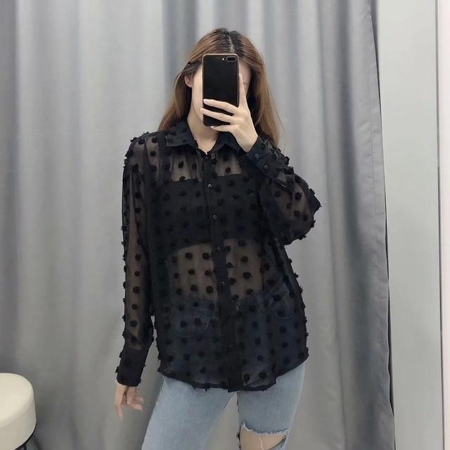 new women fashion dot stitching casual chiffon blouse shirt women long sleeve chic blusas perspective white chemise tops LS3725 5