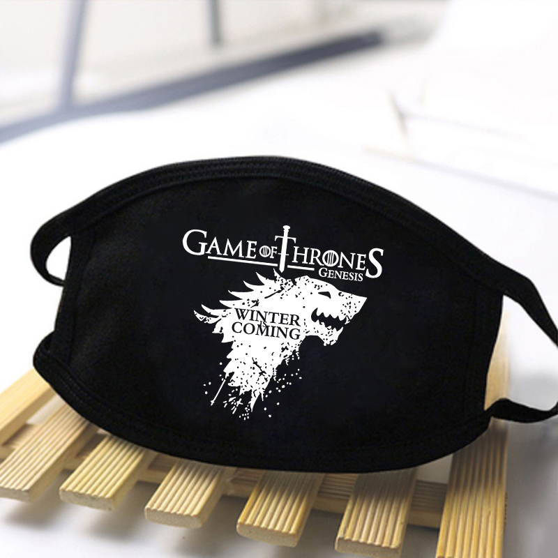 Game Of Thrones And Vikings Print Half Face Mouth Muffles Anti-dust Washable Reusable Streetwear Hip Hop Face Mouth Black Masque