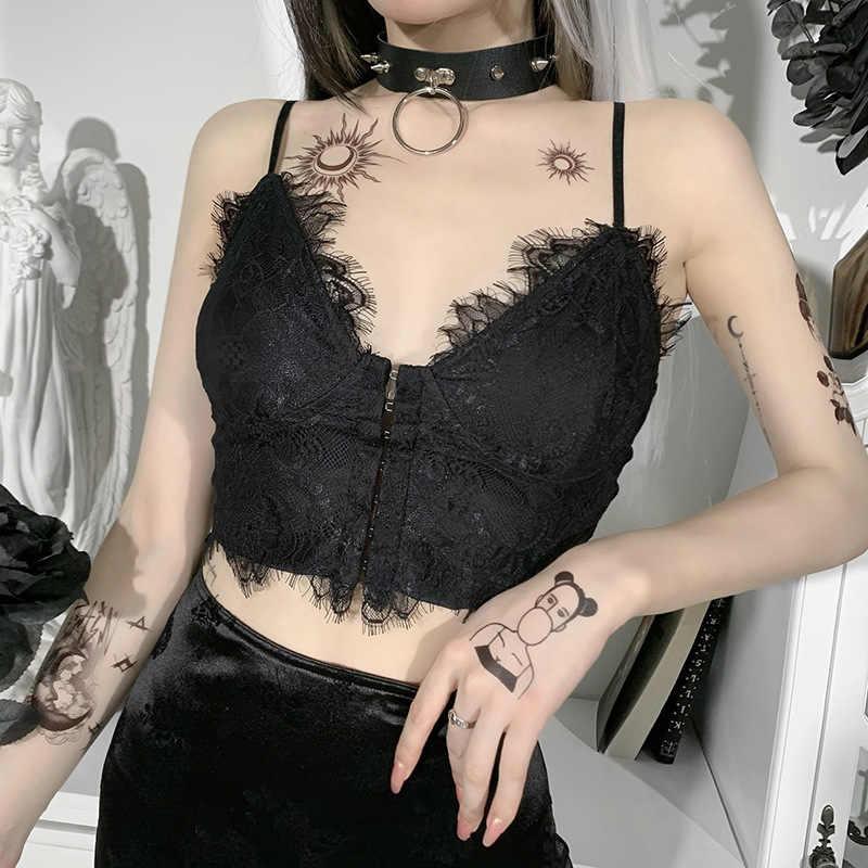 Gothic Đen Ren Crop Top Nữ Gợi Cảm Vintage Ngực Áo Bralette Áo Nữ Dạo Phố Mùa Hè Áo Top Yếm|Áo dây| - AliExpress