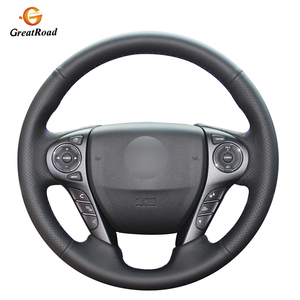 Image 1 - Black Genuine leather Car Steering Wheel Cover for Honda Accord 9 2013 2014 2015 2016 2017 Crosstour 2013 2014 2015