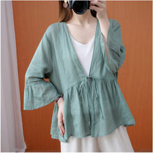 Large Size Sunscreen Cardigan Women's Summer Thin Air-Conditioned Shirt Retro Loose V-neck 3/4 Sleeve Small Jacket aq596