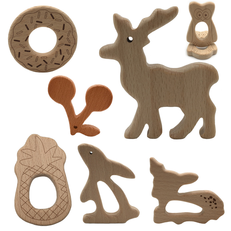 New 1pcs Infant Baby Wood Teether Shape Natrual Wooden Baby Teether Toys Wood Teething Accessories Baby Shower Gifts Silicone