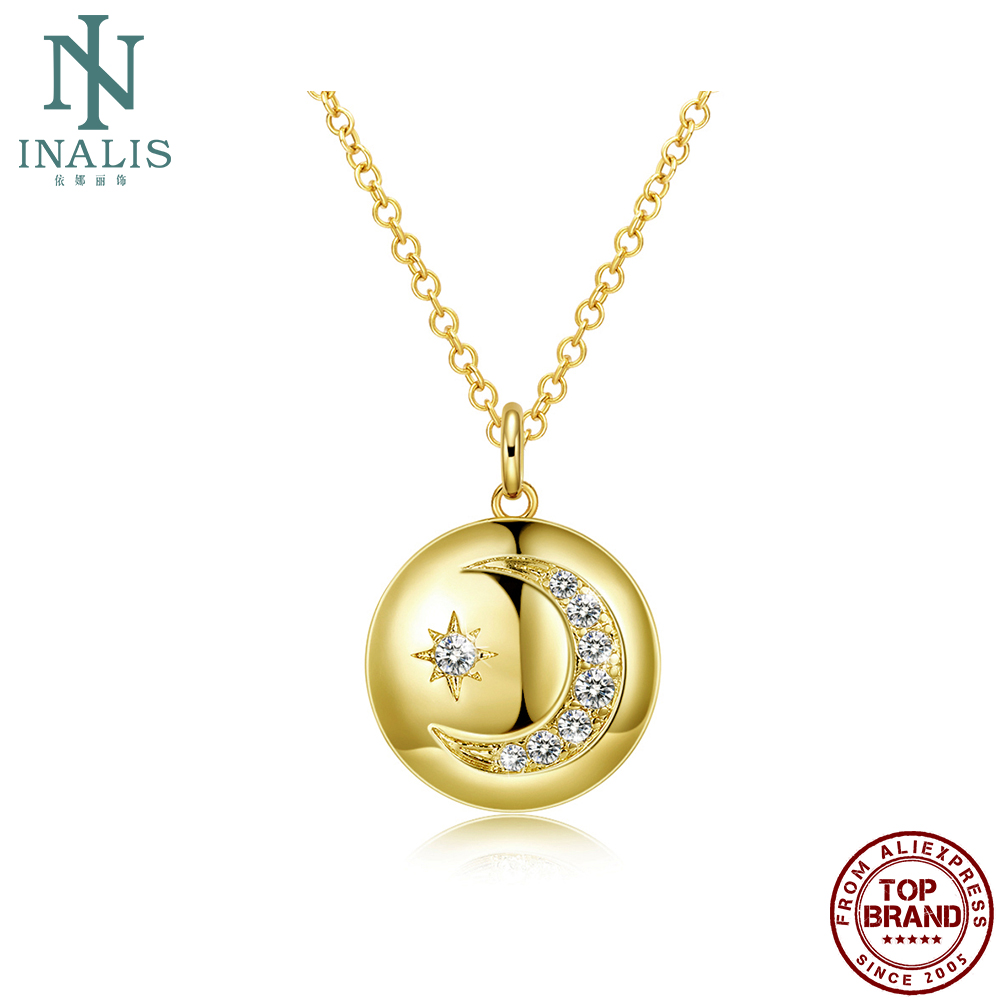 INALIS Link Necklaces Girl Romantic Trend Wild Disc Stars And Moon Yellow Anniversary Necklace To Women Jewelry Gift New Arrival