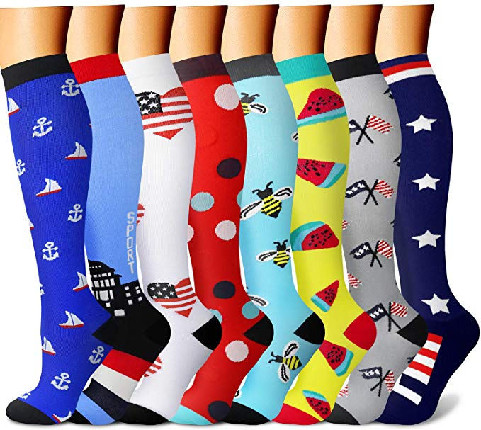 32 Styles Compression Socks Unisex Anti Fatigue Pain Relief Knee Stockings 20-30 MmHg For Outdoor Running Pregnant Cycling Socks