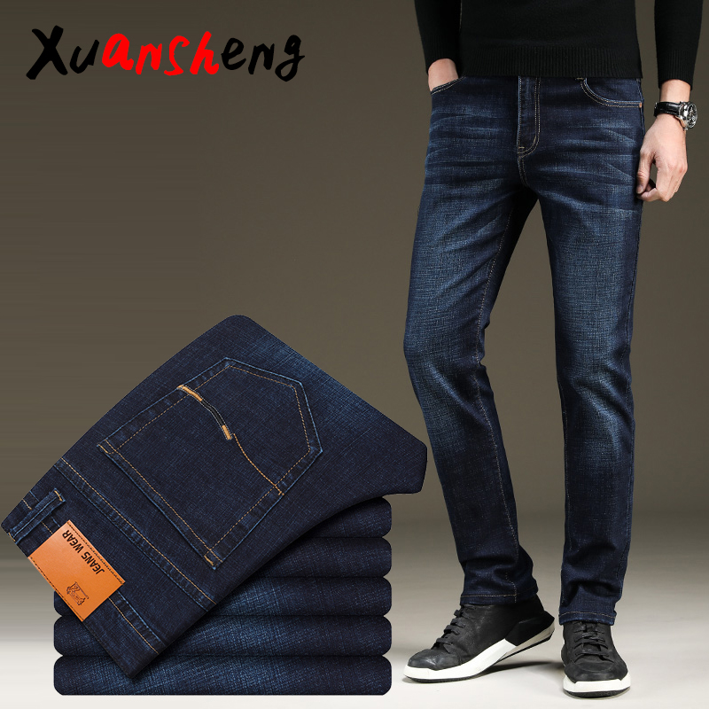 Xuan Sheng Straight Men's Jeans 2019 Stretch Blue Black Casual Streetwear Thick Men's Pants Original Business Comfortable Jeans