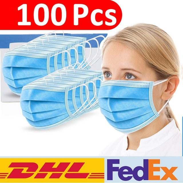 Face Disposable Masks 3 Layers Dustproof Mask Facial Protective Cover Masks Anti-Dust Bacteria Proof Flu Face Mask DHL delivery