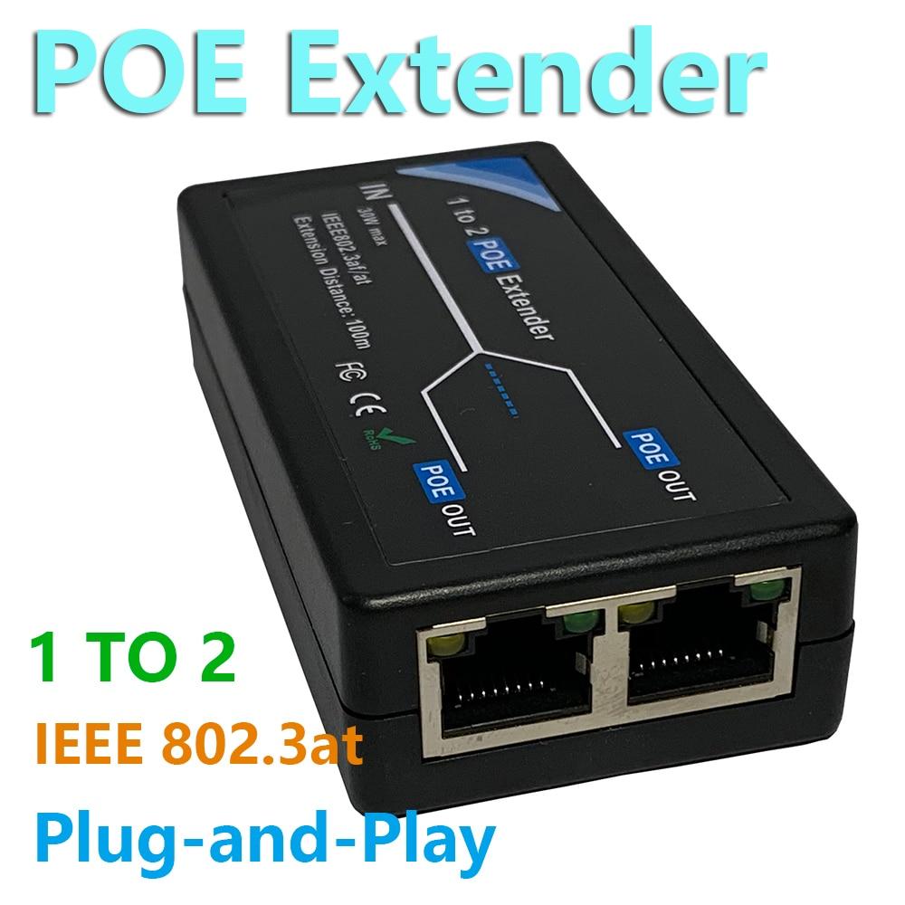 1-2port 10/100mbps poe extender com ieee 802.3af padrão de entrada/saída para câmera ip estender 100 metros para poe faixa
