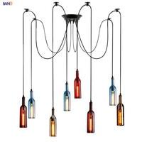 Colorsful Glass Bottle LED Pendant Lights 5/8 *E27 4W Modern Nordic Hanglamp Fixtures For Cafe Bar Living Room Decoration