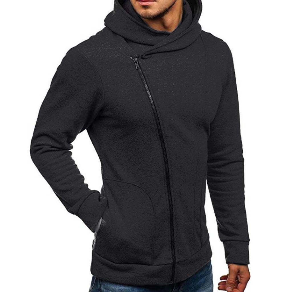 Feitong Solid Hoodies Jacket Men's Long Sleeve Autumn Winter Casual Streetwear Hoodies Hip Hop Coat Tracksuits Jackets