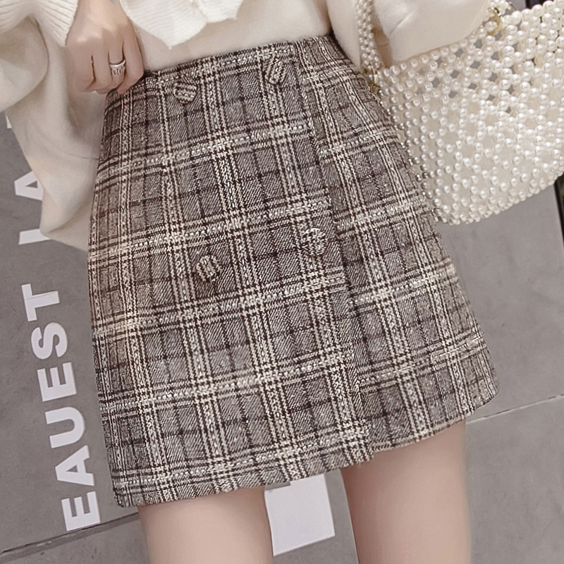 Main Push-Autumn And Winter WOMEN'S Dress Plaid Double Breasted Half-length Skirt Autumn And Winter High-waisted Wool Woolen Clo