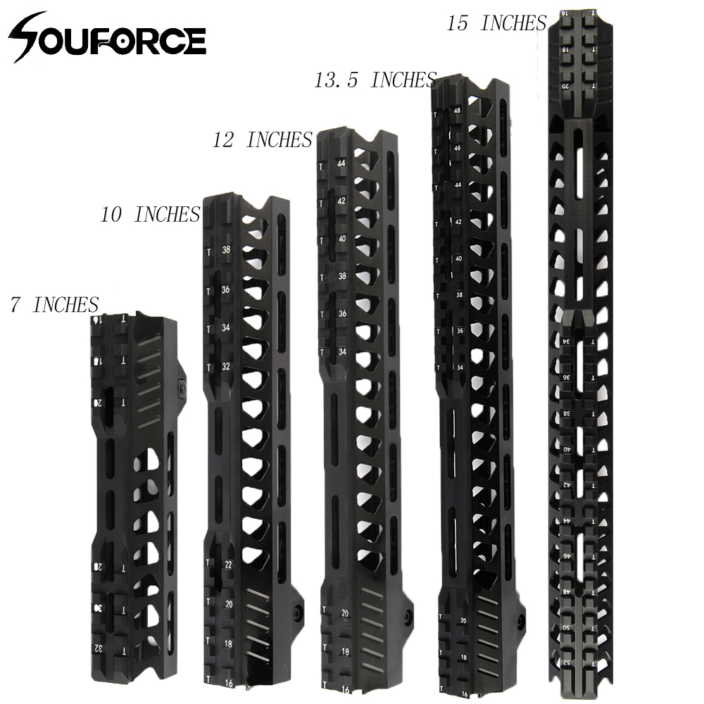 7/10/12/13.5/15 Inches Tactical Float Keymod Handguard Picatinny Rail Square Mouth For AR Series Gun Types Hunting Accessary