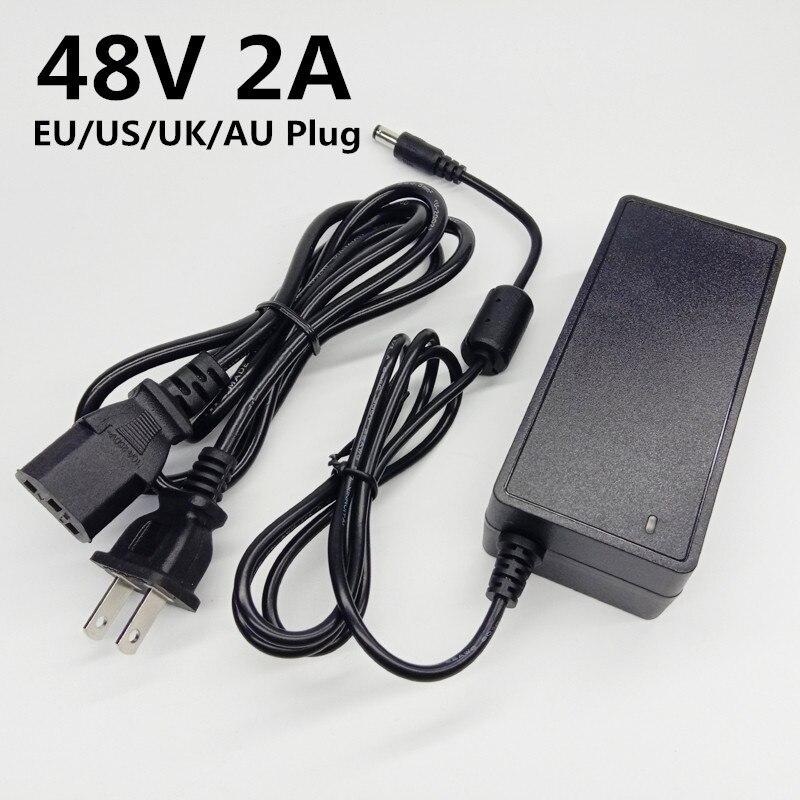 48 v 2a ac dc fonte de alimentação adaptador 48 v volt 2000ma universal conversor ue eua uk au plug adaptador de comutação 5.5mmx2.1-2.5mm