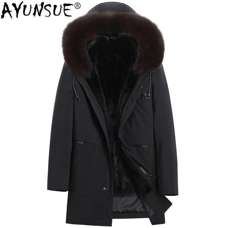 AYUNSUE Parka Real Fur Coat Men Natural Mink Fur Liner Winter Mens Mink Coat Hooded Fox Fur Collar Long Parkas 9817173 KJ3105