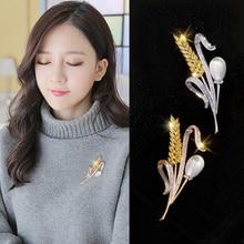 Simple Wheat Brooch Badge WOMEN S Coat Mori Style Korean Coat Corsage Badge Pin Sweater Button Accessories