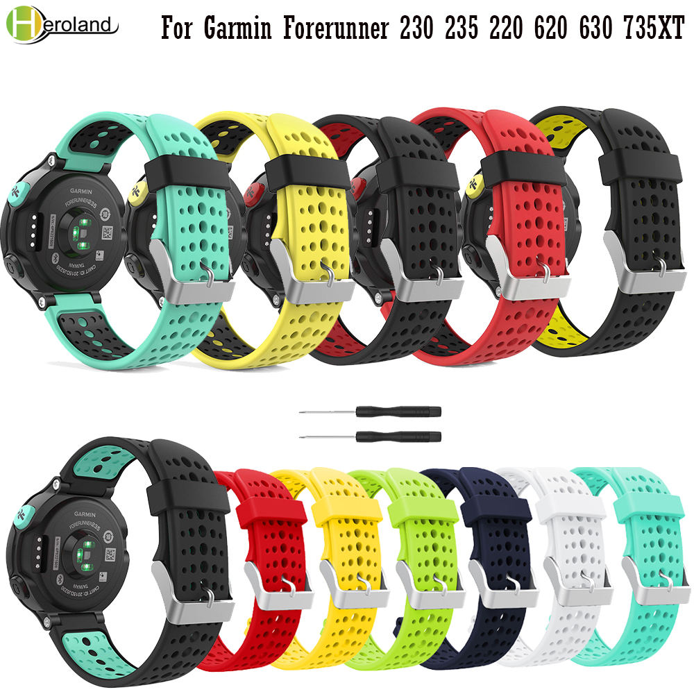 Sport Wirstband For Garmin Forerunner 235Lite / 235 /220/230/620/630/735XT Smart Watchband Replacement Soft Silicone Watch Strap