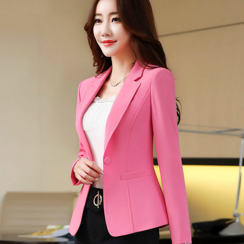 Fashio  New Buckle Long Sleeve Casual Loose Coat Short Slim Fashion Womens Tops Suit Caot Jacke