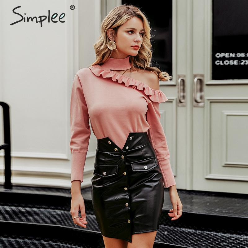 Image 4 - Simplee Sexy halter knitted sweater women jumper winter Hollow out ruffled lady sweater Long sleeve female jumper pull femmePullovers   -