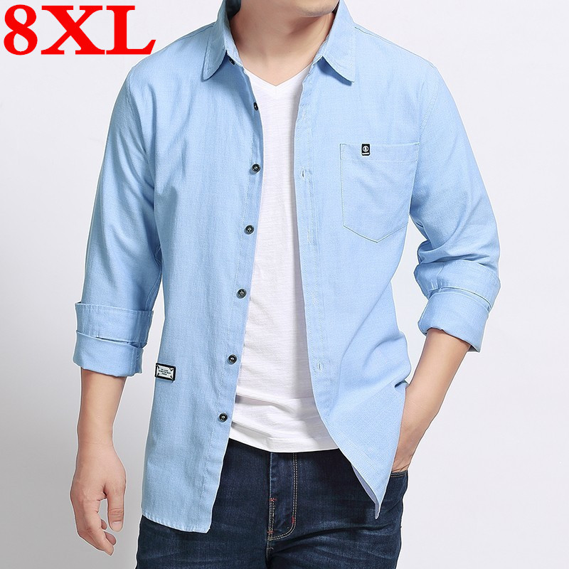 New Plus Size 8XL 7XL 6XL 5XL 4XL High Quality Spring And Autumn Casual Shirts Men Long Sleeve 100% Pure Cotton Slim Fit  Shirts