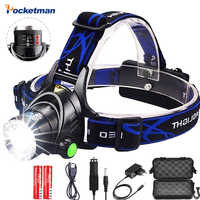 LED Headlight 5000lum Motion Sensor Led Headlamp V6/L2/T6 Zoom Headlight Torch Flashlight use 2*18650 battery by Fishing