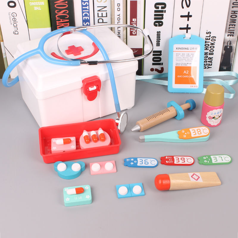 2019 New Children Pretend Play Doctor Toys Kids Wooden Medical Simulation Medicine Chest Set For Kids Interest Development Kits